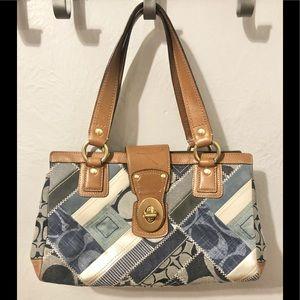 Coach signature denim Collection patchwork satchel